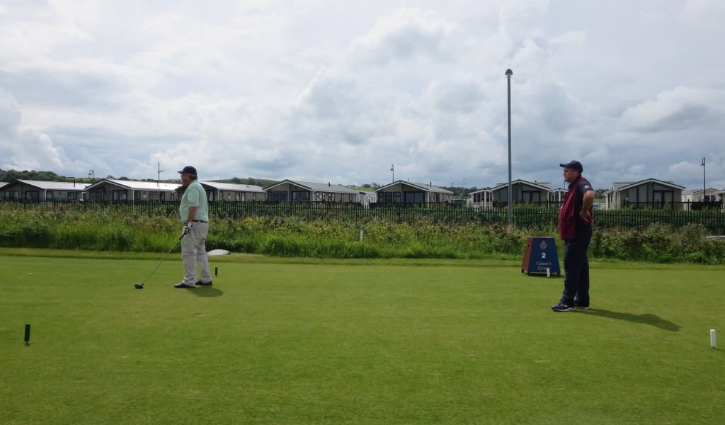 The ``caravans,'' or mobile homes, have a nice view of the second tee at Royal Portrush.