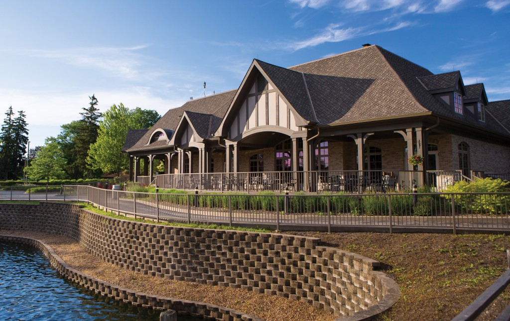 Mt. Prospect's attractive clubhouse overlooks a pond and the putting green.