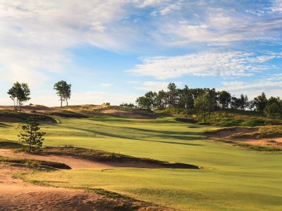 The uphill shot to the par-five fifth green is open for long hitters' business.