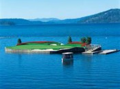 Score an extra poker card for hitting the famous par-3 14th floating island green at Coeur D'Alene Resort in Idaho.