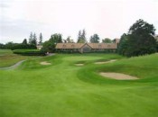 Indianwood's 9th hole, from a safe driving spot on the fairway.