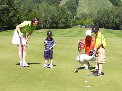 The larger cup at Shanty Creek Resort's Summit course is great fun for kids and parents alike.