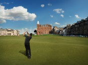 An avatar tees off on the 18th at the Old Course