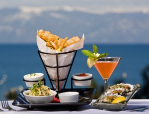 Fish and chips with a Mangotini at Wolfdale's with a view of Lake Tahoe.