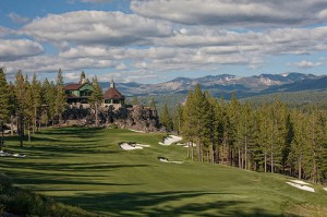 The 18th hole at Martis Camp, site of the 66th U.S. Junior Amateur, with its Camp Lodge on a rock outcrop overlooking the green.