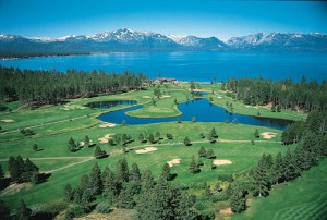 On the southern shore of colbalt-blue Lake Tahoe is the Edgewood Tahoe Golf Course.