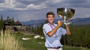 Scottie Scheffler with his U.S. Junior Amateur Championship trophy, with the Martis Camp Lodge in the background.