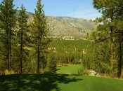 Tee shots on the third hole at Clear Creek Tahoe seem to hang in the air for a full minute, dropping some 200 feet.