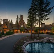 The teepee like spires of the Nakoma clubhouse are distinctive on the Sierra skyline.
