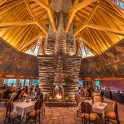 The towering fireplace and vaulted ceiling in the Wigwam Room is the breathtaking heart of the Nakoma clubhouse.