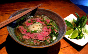This Drunken Monkey special is tender beef coated with coarse black pepper, cumin and coriander then seared very quickly, sliced very thin and placed on top of noodles.