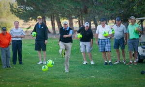 "At Dayton Valley, the author follows through a foot golf ""drive."""