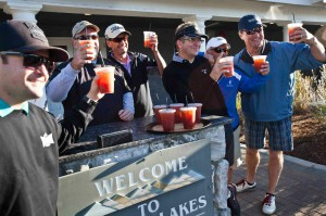 After the day's first two holes at Genoa Lakes, players are served the D-9's traditional morning Bloody Mary.