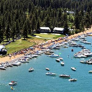 The scene at Edgewood Tahoe's 17th hole during the American Century Tournament.