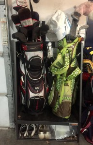 A real-life Gladiator® Golf Caddy with more typical organization.