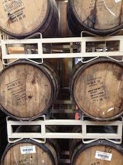 Bourbon aging barrels at Crux.