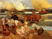 """Beach at Valencia"" by Joaquin Sorolla--the famous swimming cows."