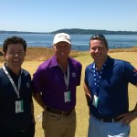 Irish Television Commentator Shane O'Donaghue with Norman and Clarkin at Chambers Bay, Open Week 2015