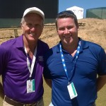 Greg Norman and John Clarkin at Chambers Bay on the Monday of Open Week
