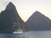St. Lucias Pitons are the most spectacular peaks in the Caribbean - and the view every Jade Mountian guest wakes to.