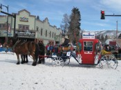 No, it is not rush hour in Steamboat, but rather the town's funky Winter Carnival parade, where locals will make floats - or in this case stagecoaches - out of almost anything, including an old ski resort gondola.
