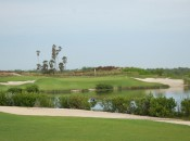 Nicklaus used lots of water to challenge goflers at his new Riviera Cancun course, as seen on this daunting par-3.