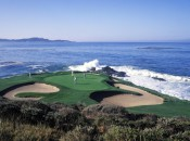 The world famous par-3 7th at Pebble Beach Golf Links. Courtesy of: Joann Dost