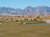 The picturesque setting for the 2nd green at Coyote Springs.