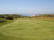 Looking back down the 17th hole at Pennard GC and over to the Gower Peninsula © James Mason