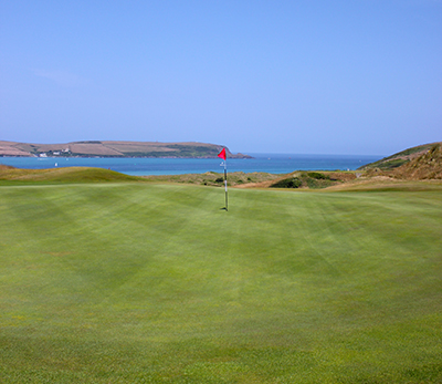 Looking across the 17th green out to the Atlantic Ocean