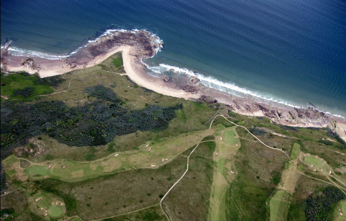 Ariel view of Gullane Number one course next to the sea