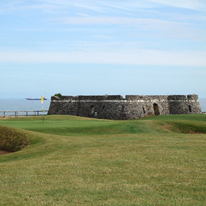 The 5th hole and fort at North Foreland Golf Course