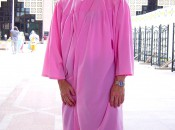 Pretty in Pink?  No, the author about to enter a Mosque.