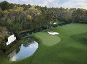 """The 11th and 12th holes of """"Amen Corner."""""""
