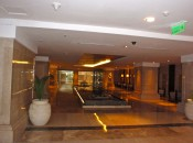 The attractive lobby of the elite Ashok Hotel in the Embassy area of Delhi.