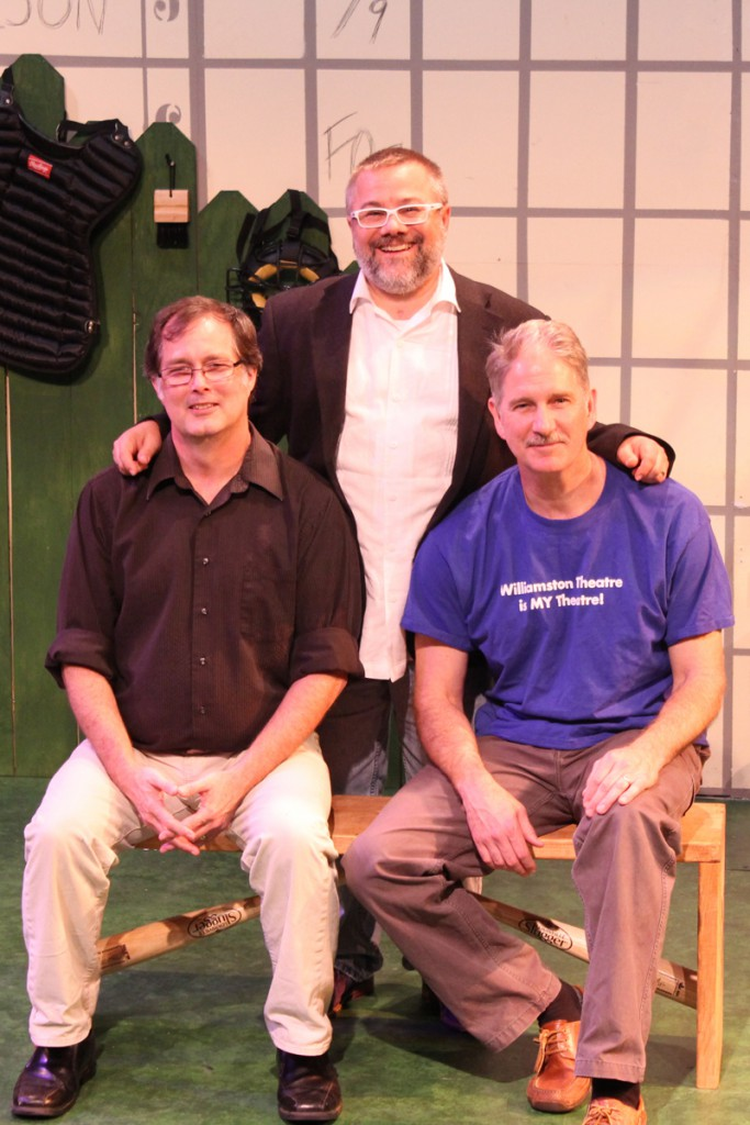 Rounding Third Cast and Director:  (left to right) Tobin Hissong, Director Tony Caselli and John Lepard (Photo courtesy of Chris Purchis, Williamston Theatre)
