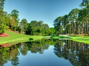 An ideal spot to view action at the Masters is at the grassy hillside at the par-three 16th