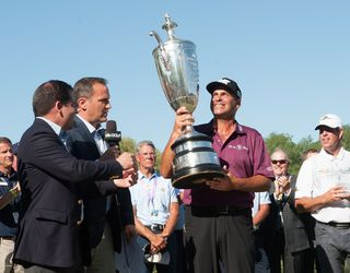 Winner Rocco Mediate & Senior PGA Championship trophy