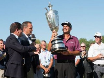 BENTON HARBOR, MI - MAY 29: Senior PGA Championship winner, Rocco Mediate receives the Alfred S. Bourne Trophy at the 77th Senior PGA Championship presented by KitchenAid held at Harbor Shores Golf Club on May 29, 2016 in Benton Harbor, Michigan. (Photo by Traci Edwards/The PGA of America)