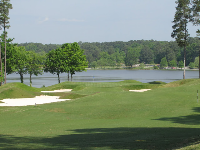 Lake Acworth and the sharp shaping like here at the par-5 15th really make Cobblestone's holes pop.