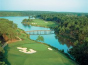 The money shot: Oconee's 17th green and the 18th's big drive across the lake.