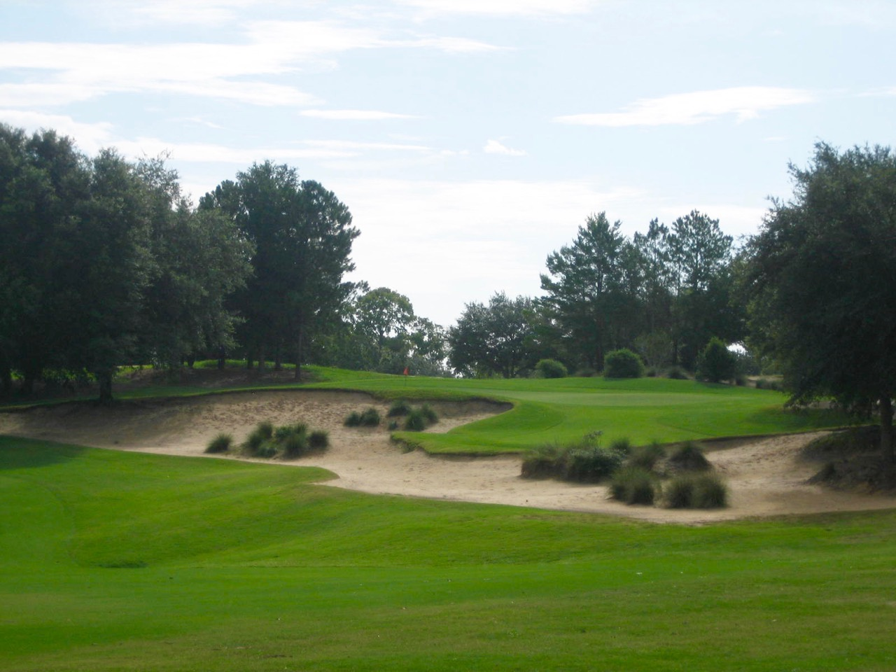 An ode to Pine Valley, this is the upper of two different greens at the long par-4 12th.