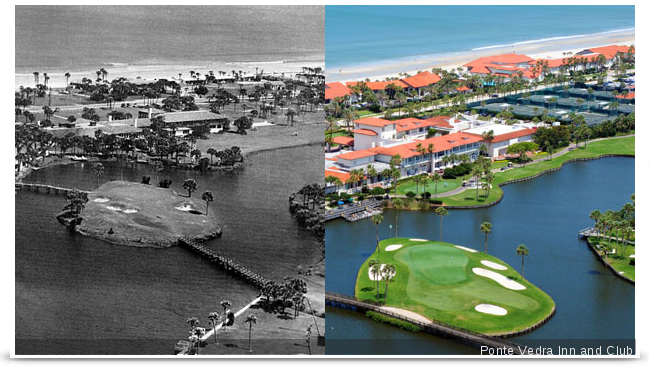 "Floridas ""original"" island green at Ponte Vedra Inns Ocean Course, from 1939 and more recently."