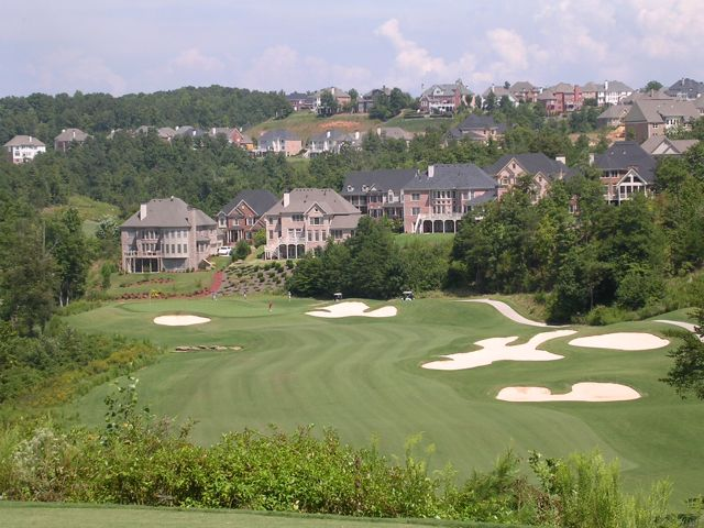 If one photo encapsulates Atlanta golf, it might be this one: big elevation changes, cart paths, obscene housing developments, yet occasionally thoughtful hole designs (this is Windermere, Mark and Davis Love III design).