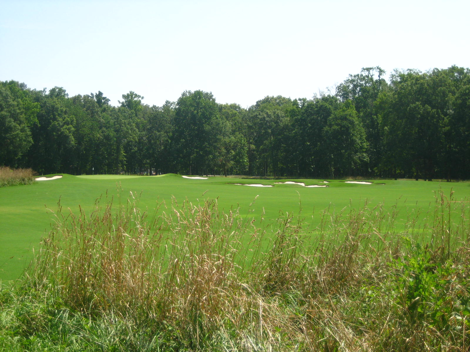 This shot of the par-5 10th playing across the lower farm section gives indication of the width and scale of the holes.