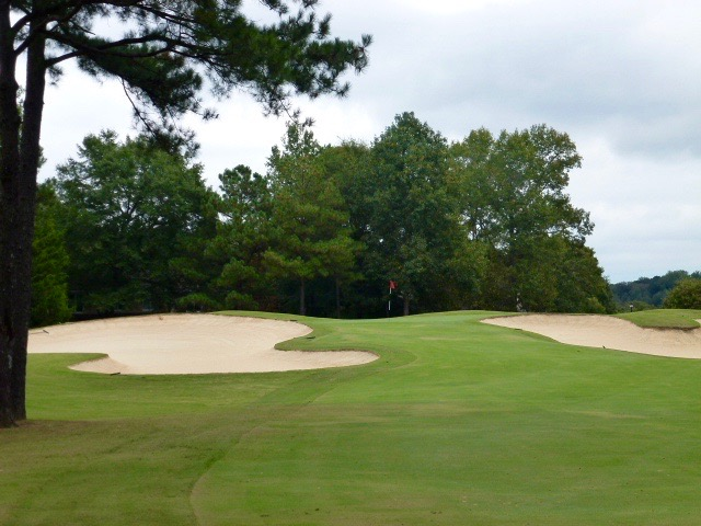 The clean shaping around the 9th green is typical of the presentation throughout The Legends Course at Chateau Elan.