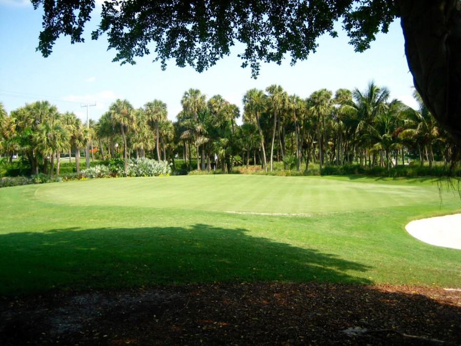 The par-3 13th sits in a garden area steps away from the resort's main entrance.