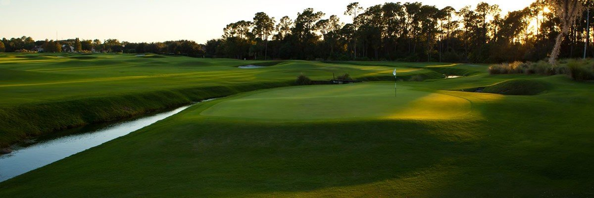The 1st and 10th (shown) greens have a bern that crosses directly in front. (photo: grandcypress.com)