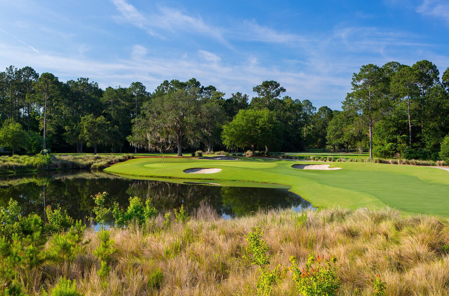 The lovely par-3 11th blends some of the site's wonderful live oaks, man-made lagoons, Nicklaus bunkering and a bi-level green.