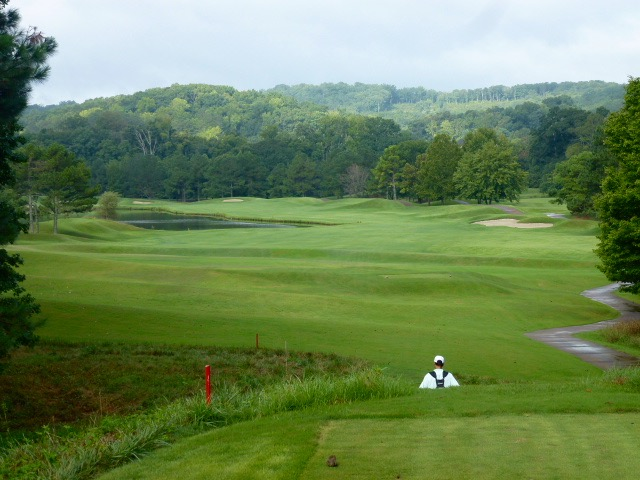 The par-5 second bending around a retention lake is the introduction to the meadow section of the course.